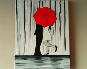 SALE Couple in rain painting,Couple kissing in the rain wall art, couple with red umbrella painting, couple hugging silhouette 11X14 inches