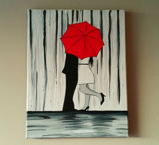 SALE Couple In Rain PaintingCouple Kissing In The Rain Wall