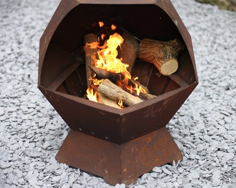 Decahedron  Barbecue and Fire Pit with Removable Grill