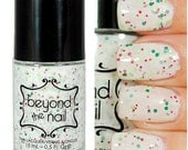 Stocking Stuffer - White Crelly Polish with Red & Green Glitter
