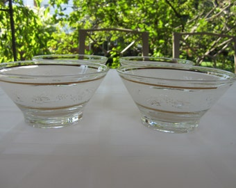 4 Vintage Glass Berry, Ice Cream, Pudding Bowls Signed Todd
