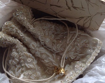 60s Champagne Beaded Evening Bag -  in wonderful condition and in original box