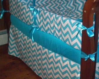 SPECIAL***Turquoise Chevron and solid 4 piece crib bedding set