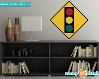 Traffic Light Sign Fabric Wall Decal - Traffic and Street Signs - 3 Sizes Available - Non-Toxic, Reusable, Repositionable - Sunny Decals