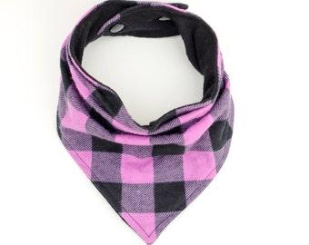 Purple trapper plaid bib, Buffalo plaid baby scarf, Gift for baby, Lavender teething bib, Purple toddler scarf bib, Adjustable slouchy scarf