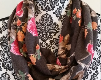 Brown and Pink Floral Infinity Scarf - Handmade - gift for her - under 20 - Free Shipping - mothers day, teacher