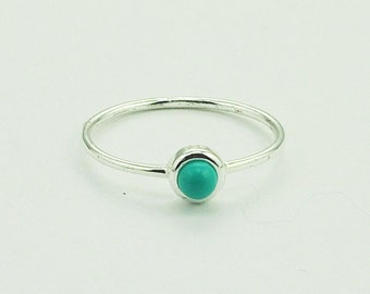 Dainty Turquoise Ring in silver. Hypoallergenic,small turquoise ring, thin band