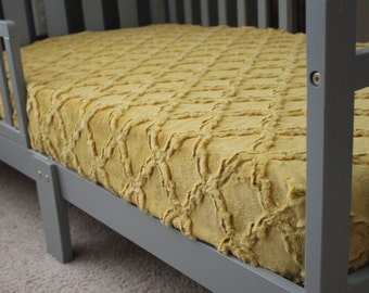 Antique Gold, Mustard Yellow Lattice Minky Crib Sheet,  Baby, Toddler, Crib Bedding, Nursery