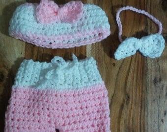 Newborn Baby Girl Bikini Set/ Beach Photo Prop /Board shorts and top
