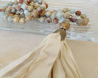 Boho glam impression jasper knotted sari silk tassel necklace/Bohemian chic blue cream gemstone hand knot long statement necklace