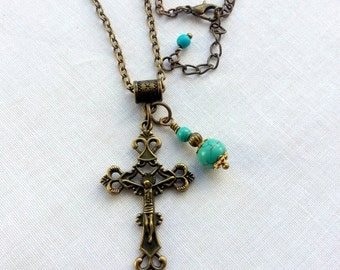 Cross necklace,Antique bronze crucifix,religious jewellery,turquoise cross pendant,Christian jewelry,Jesus,Easter,religious gift.brass cross