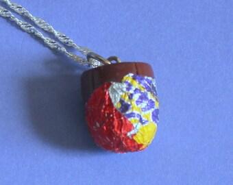 Cadburys Creme Egg Charm Silver Necklace,Fimo Charm,Novelty Necklace,Silver Jewellery,Fimo Charm Pendant,Secret Santa Gift,Stocking Filler