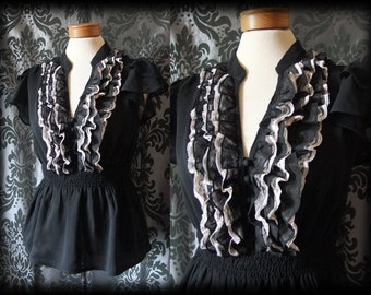 Goth Black Sheer White Lace Frill CRUEL GOVERNESS Blouse 12 14 Vintage Victorian