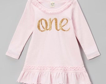Pink and Gold First Birthday Dress | Pink and Gold Birthday outfit | One birthday outfit | 1st Birthday Dress | Ruffle Dress