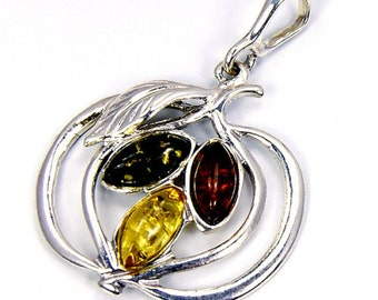 Natural Green, Honey Baltic Amber & .925 Sterling Silver Pendant , N16 Jewelry