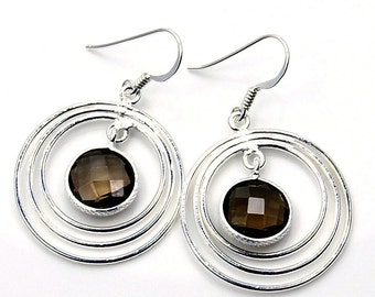Smoky Quartz & Sterling Silver Hoop Dangle Earrings X55