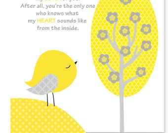 No One Else Will Ever Know, Gender Neutral Nursery Art Print, Yellow Bird Decor, Grey and Yellow, Baby Shower Gift, Nursery Poem, Child