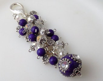 Violet Purple Beaded Key Chain/ Bag Charm