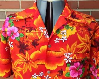 1970s Royal Hawaiian orange tropical shirt