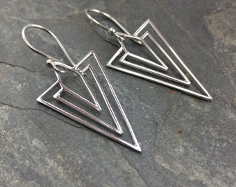 Sterling Silver Art Deco Earrings, Geometric Earrings, Chevron Earrings, Sterling Silver Geometric Jewelry