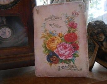 hanging wood sign roses advert french decor shabby chic handmade salvaged wood