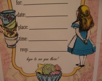 ALICE IN WONDERLAND Tea Party-#2  Handmade Invitations-set of 8-with  Envelopes 5x7