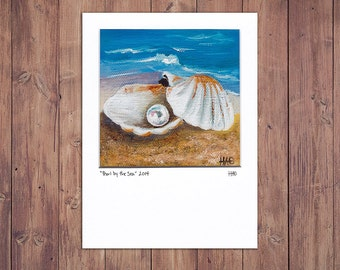 Seashell Print, Matted 5x7, from Original Painting, Beach