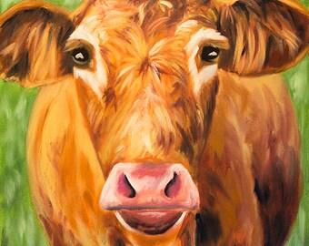 Cow Painting, Original Oil Painting, Farm Animal