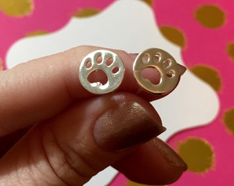 Dainty Paw Earrings | Delicate Animal Lover Earrings | Paw Studs | Paw prints in Silver or Gold