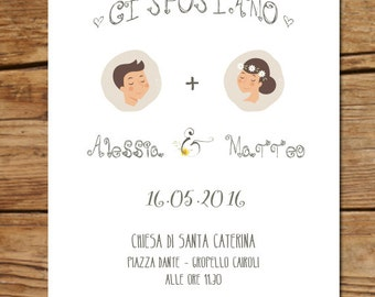 Participation and illustrated wedding invitation