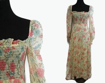 70s Floral Dress S / Hippie Dress Maxi / Festival Dress / 1970s Boho Dress Romantic Beige Pink Gauze