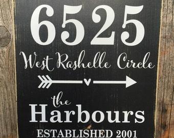 Address sign, PERSONALIZED sign, house address sign, address sign wood, front door sign, street sign, name address sign, established sign