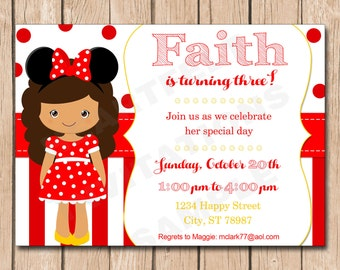 Girl Mouse Ears Birthday Party Invitation | Minnie, Red, Polka Dots - 1.00 each printed