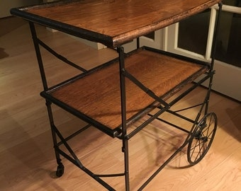 Antique French Oak and Iron bar serving cart late 1800s early 1900s industrial chic