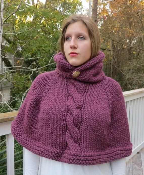 Knitting Pattern Poncho Bulky Yarn : Poncho Knitting Pattern Cape Hoodie Poncho Bulky Yarn