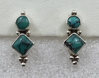 Vintage Turquoise and sterling silver earrings.