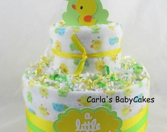 Neutral diaper cake   Baby diaper cake   Duck diaper cake   Baby shower gift   Baby sprinkle decoration   New mom gift   Unique baby gift