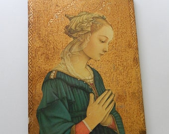 "7"" x 9 1/4"" Woman Praying Medieval Era Picture on Wood Wall Home Decor"
