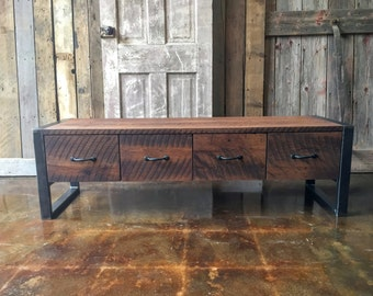 Rustic Storage Bench, Industrial Entryway Bench, Reclaimed Wood Bench