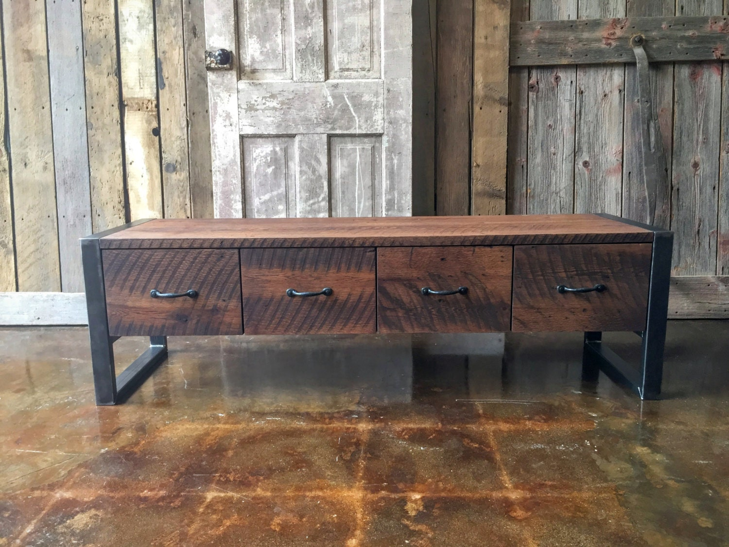 Rustic Wooden Foyer Bench : Industrial entryway bench made from reclaimed wood