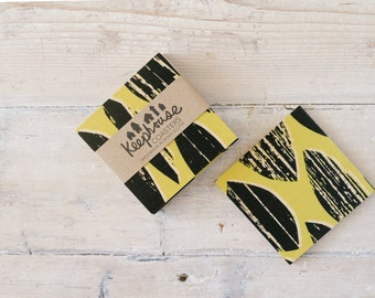 Wood Coasters - Modern Minimal Drops Pattern in Black and Goldenrod on Birch - Set of 4