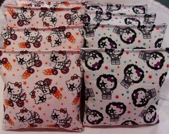 8 ACA Regulation Cornhole Bags -  2 Different Prints of Hello Kitty
