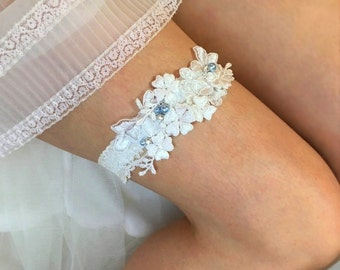 "Lace Wedding Garter, Ivory Bridal Garter, Beaded Garter, Custom Garter, Something Blue Garter Belt - with Blue Pearls & Crystals - ""Clara"""