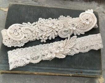 "Ivory Lace Wedding Garter Set, Beaded Lace Garter Set, Toss Garter, White Bridal Garter, Vintage Wedding, Rhinestone Garter Set - ""Lucille"""