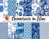 Chinoiserie Digital Paper, Chinese patterns, blue & white paper, french chinoiserie photography backdrop 8089