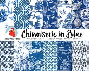 Chinoiserie Digital Paper, Chinese patterns, blue & white paper, blue china, oriental, french chinoiserie photography backdrop 8089