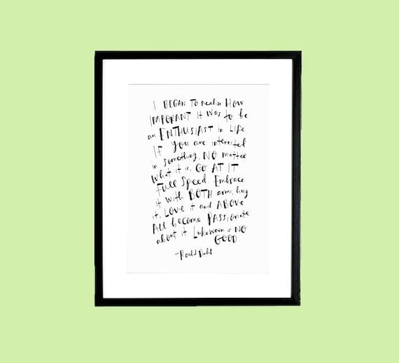 8 x 10 inch Roald Dahl 'Enthusiast' Handwritten by ...