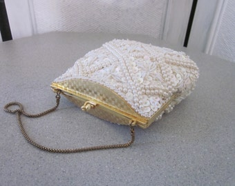 1950s White Silk Satin Evening Bag, Embroidered with Beads and Sequins