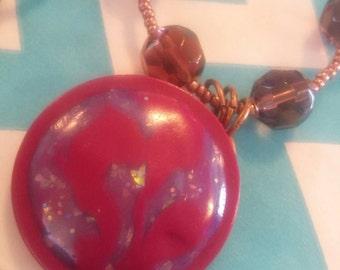 Purple swirl polymer clay necklace