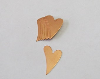 Mini Copper hearts  -  24 gauge -Aluminum Hand stamping metal disc -heart blanks -Stamping Supplies 5 or more